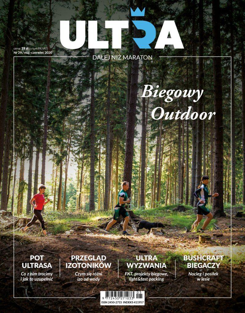 okładka magazyn ultra 29, las, biegacze, trail